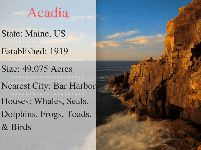 Acadia National Parks Facts