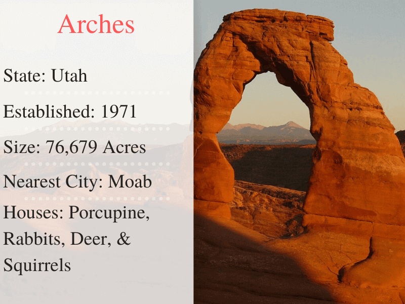 Arches National Park Facts