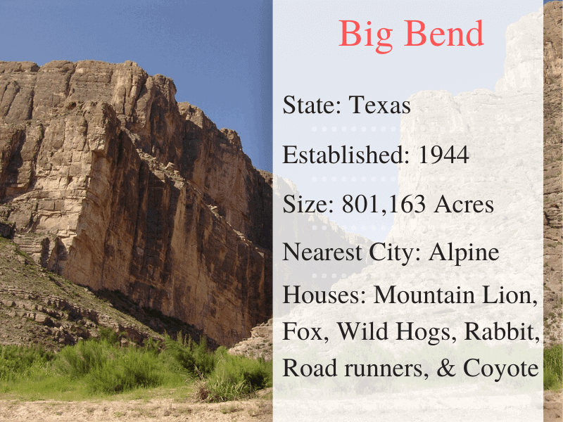 Big Bend National Park Facts