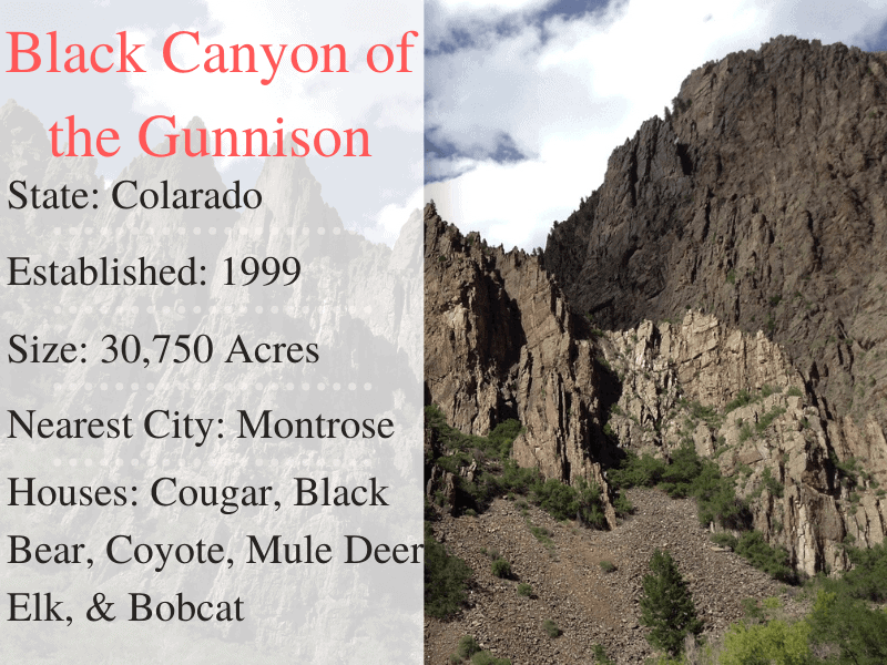 Black Canyon Gunnison Facts